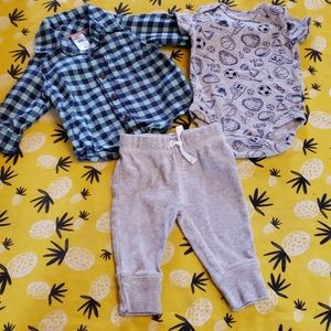 3 Pieces! Flannel Shirt, Onesie, Pants 3 Months